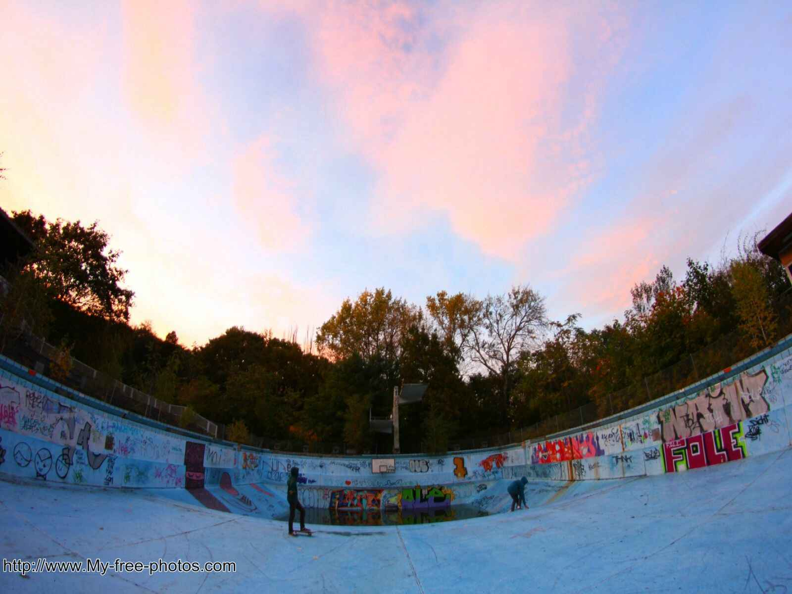 Skate park at sunset